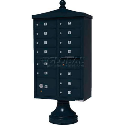 Vital Cluster Box Unit w/Vogue Traditional Accessories, 13 Unit & 1 Parcel Locker, Black