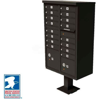 Vital Cluster Box Unit, 16 Mailboxes, 2 Parcel Lockers, Dark Bronze