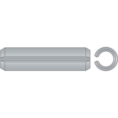 """1/4"""" x 3/4"""" Spring Pin - 302/304 Stainless Steel - Passivated - ASME B18.8.2 - USA - Pkg Qty 100"""