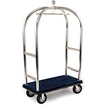 """Forbes Birdcage Bellman Cart 2523-BL-BK Stainless, Blue Carpet, Black Bumper, 8"""" Pneumatic"""