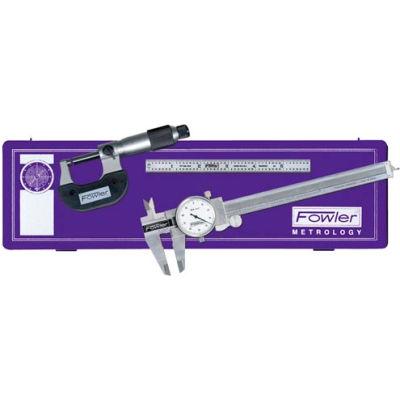 Fowler 52-095-007-0 3-Piece Dial Caliper, Micrometer & Steel Rule Toolmakers Universal Measuring Set
