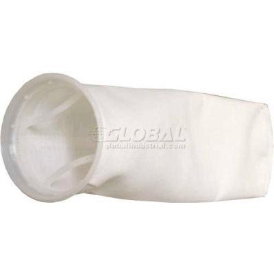 "Liquid Bag Filter, Nylon Mesh, 4-1/8""Dia. X 8""L, 15 Micron, Plastic Sure Seal Ring - Pkg Qty 50"
