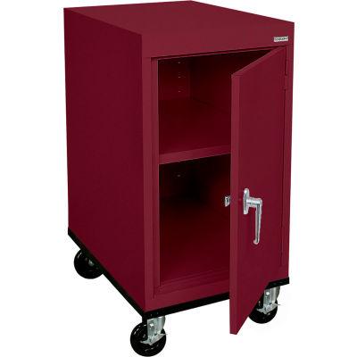 Sandusky Mobile Work Height Storage Cabinet TA11182430 Single Door - 18x24x36, Burgundy