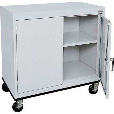 Sandusky Mobile Work Height Storage Cabinet TA11361830 Double Door - 36x18x30, Gray