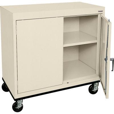 Sandusky Mobile Work Height Storage Cabinet TA11361830 Double Door - 36x18x30, Putty