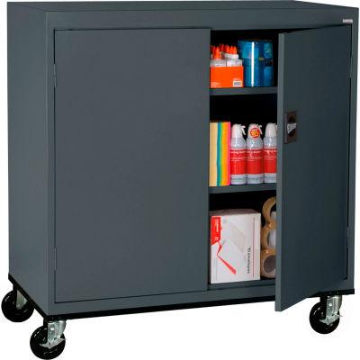 Sandusky Mobile Work Height Storage Cabinet TA2R462442 Double Door - 46x24x48, Charcoal
