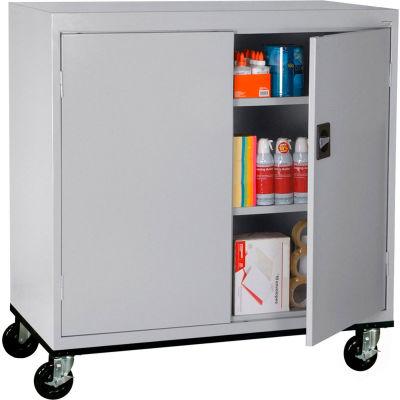 Sandusky Mobile Work Height Storage Cabinet TA2R462442 Double Door - 46x24x48, Gray