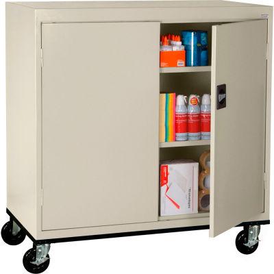 Sandusky Mobile Work Height Storage Cabinet TA2R462442 Double Door - 46x24x48, Putty