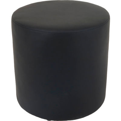 Interion® Round Reception Ottoman - Black