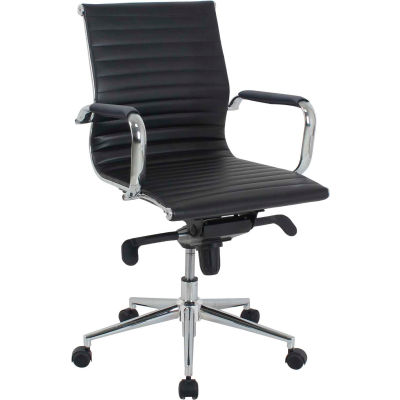 Interion® Conference Room Chair With Mid Back & Fixed Arms, Bonded Leather, Black