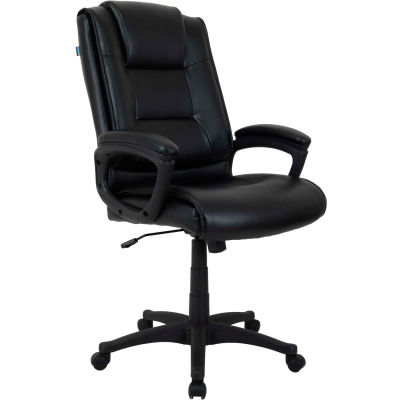 Interion® Executive Office Chair with Arms - Leather - High Back - Black