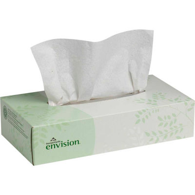 GP Envision White Facial Tissue Flat Box, 100 Sheets/Box, 30 Boxes/Case - 47410