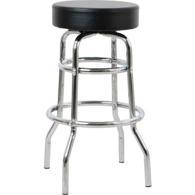 "Interion® Heavy Duty Swivel Barstool 29""H - Leather - Black"