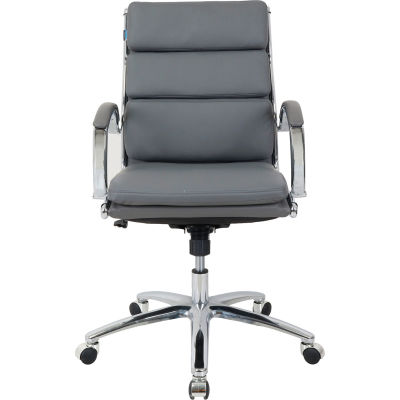 Interion® Modern Ribbed Executive Chair - Leather - Mid Back - Charcoal Gray