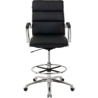 Interion® Modern Ribbed Executive Stool - Leather - Mid Back - Black