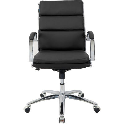Interion® Modern Ribbed Executive Chair - Leather - Mid Back - Black
