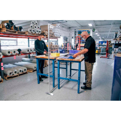 """Global Industrial™ Floor Supported Personal Safety Workbench Partition 72""""W x 72""""H - Clear"""