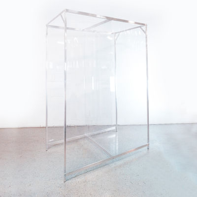 """Global Industrial™ Personal Safety Cubicle, 6'L x 8'H, 3'6"""" Between Partitions, Clear"""