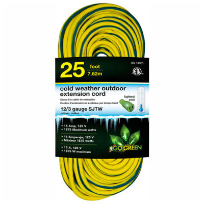 GoGreen GG-18025 12/3 25' Cold Weather Outdoor Extension Cord, Yellow w/Green Stripe. Lighted End