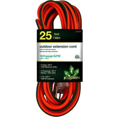 GoGreen Power, GG-13725, 25 Ft 16/3 SJTW Outdoor Extension Cord, Orange w/ Lighted Green Ends