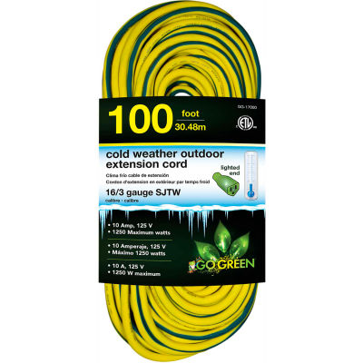 GoGreen GG-17700 16/3 100' Cold Weather Outdoor Extension Cord, Yellow w/Green Stripe. Lighted End
