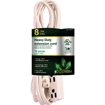 GoGreen Power, GG-19608, 3 Outlet 8 Ft Extension Cord - Right Angle Plug