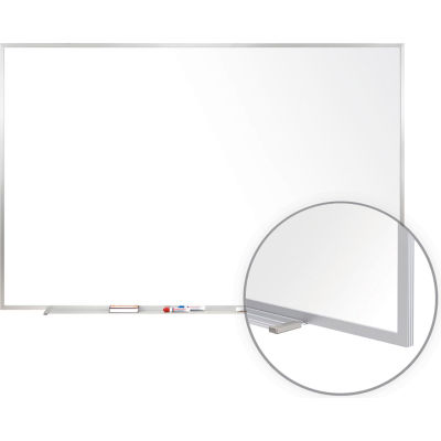 Ghent 4' x 8'  Whiteboard with Aluminum Frame - Porcelain - Includes Marker/Eraser - USA Made