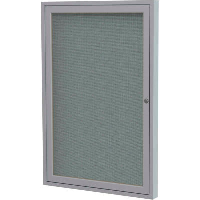 """Ghent Enclosed Bulletin Board - Indoor - Fabric - Satin Frame - 24""""W x 36""""H - Gray"""