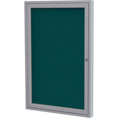 "Ghent Enclosed Bulletin Board - 1 Door - Blue Fabric w/Silver Frame - 36"" x 30"""