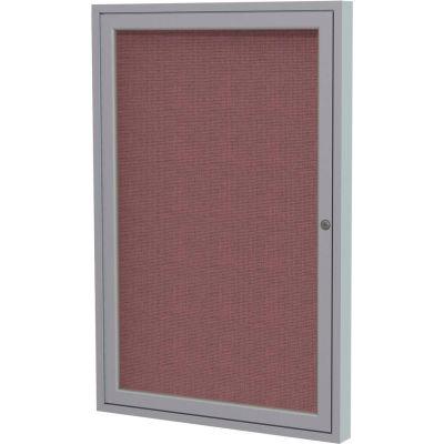 "Ghent Enclosed Bulletin Board - 1 Door - Merlot Fabric w/Silver Frame - 36"" x 36"""