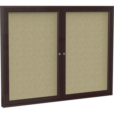 "Ghent Enclosed Bulletin Board - 2 Door - Beige Fabric w/Bronze Frame - 36"" x 60"""