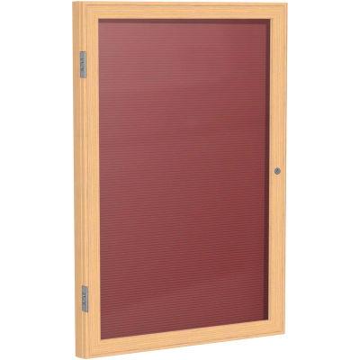 """Ghent Enclosed Letter Board - 1 Door - Burgundy Letterboard w/Oak Frame - 36"""" x 24"""""""