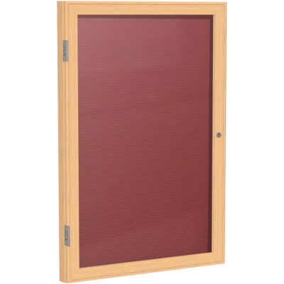 "Ghent Enclosed Letter Board - 1 Door - Burgundy Letterboard w/Oak Frame - 36"" x 30"""