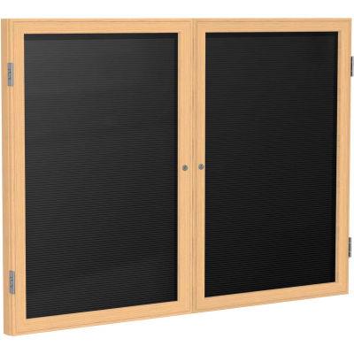 "Ghent Enclosed Letter Board - 2 Door - Black Letterboard w/Oak Frame - 48"" x 60"""