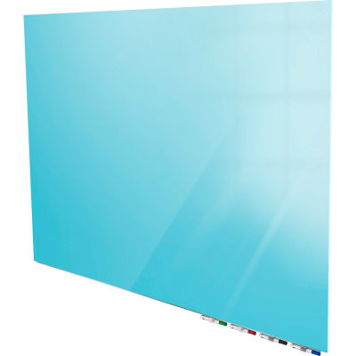 Ghent® Aria 5'W x 4'H Magnetic Glass White Board - Blue