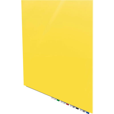 Ghent® Aria 4'W x 4'H Magnetic Glass White Board - Yellow
