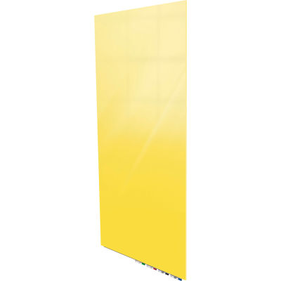 Ghent® Aria 4'W x 8'H Magnetic Glass White Board - Yellow
