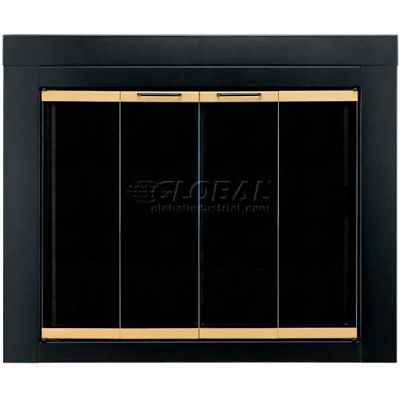 "Pleasant Hearth Arrington Fireplace Glass Door Black With Gold Trim AR-1022 43-1/2""L x 33""H"