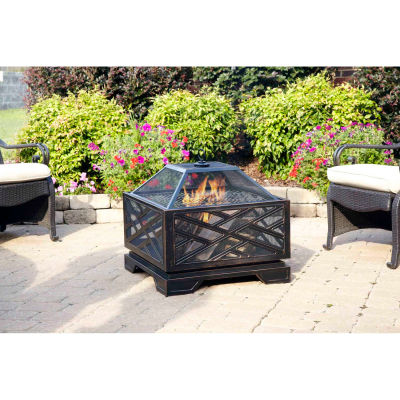 """Pleasant Hearth Martin Wood Burning Fire Pit OFW165S, 26"""" Square, Rubbed Bronze Finish"""