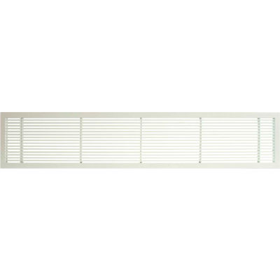 "AG10 Series 6"" x 24"" Solid Alum Fixed Bar Supply/Return Air Vent Grille, White-Matte"