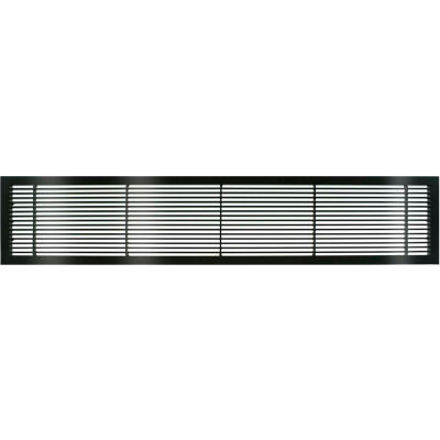 "AG10 Series 6"" x 24"" Solid Alum Fixed Bar Supply/Return Air Vent Grille, Black-Gloss"