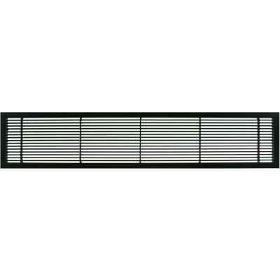 """AG10 Series 6"""" x 30"""" Solid Alum Fixed Bar Supply/Return Air Vent Grille, Black-Matte"""