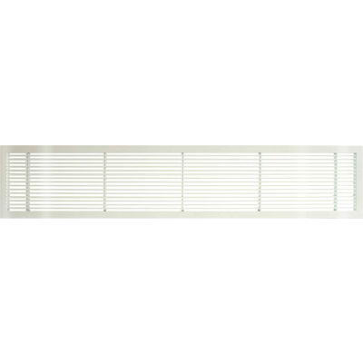 """AG10 Series 6"""" x 48"""" Solid Alum Fixed Bar Supply/Return Air Vent Grille, White-Gloss"""