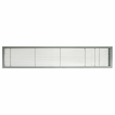 "AG10 Series 6"" x 48"" Solid Alum Fixed Bar Supply/Return Air Vent Grille, Brushed Satin w/Door"