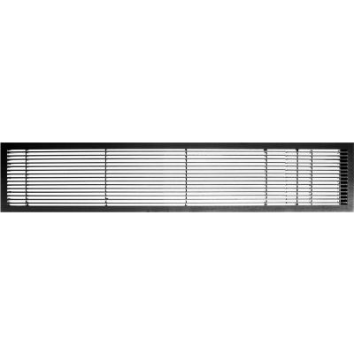 """AG10 Series 6"""" x 48"""" Solid Alum Fixed Bar Supply/Return Air Vent Grille, Black-Matte w/Door"""