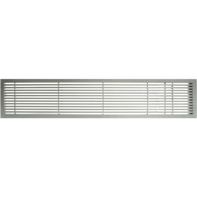 "AG20 Series 6"" x 24"" Solid Alum Fixed Bar Supply/Return Air Vent Grille, Brushed Satin w/Right Door"