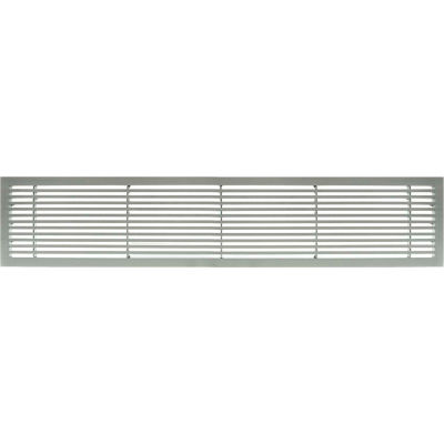 """AG20 Series 6"""" x 36"""" Solid Alum Fixed Bar Supply/Return Air Vent Grille, Brushed Satin"""