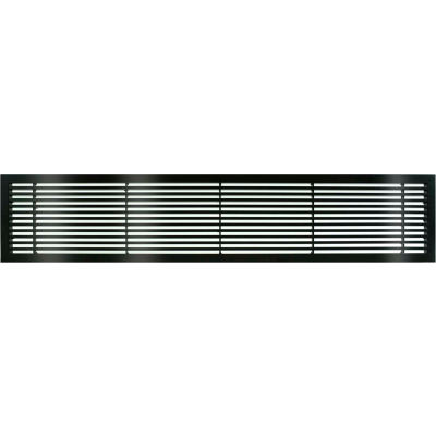 """AG20 Series 6"""" x 48"""" Solid Alum Fixed Bar Supply/Return Air Vent Grille, Black-Gloss"""