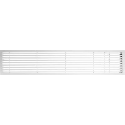 """AG20 Series 6"""" x 48"""" Solid Alum Fixed Bar Supply/Return Air Vent Grille, White-Matte w/Right Door"""