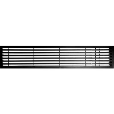 """AG20 Series 6"""" x 48"""" Solid Alum Fixed Bar Supply/Return Air Vent Grille, Black-Gloss w/Right Door"""